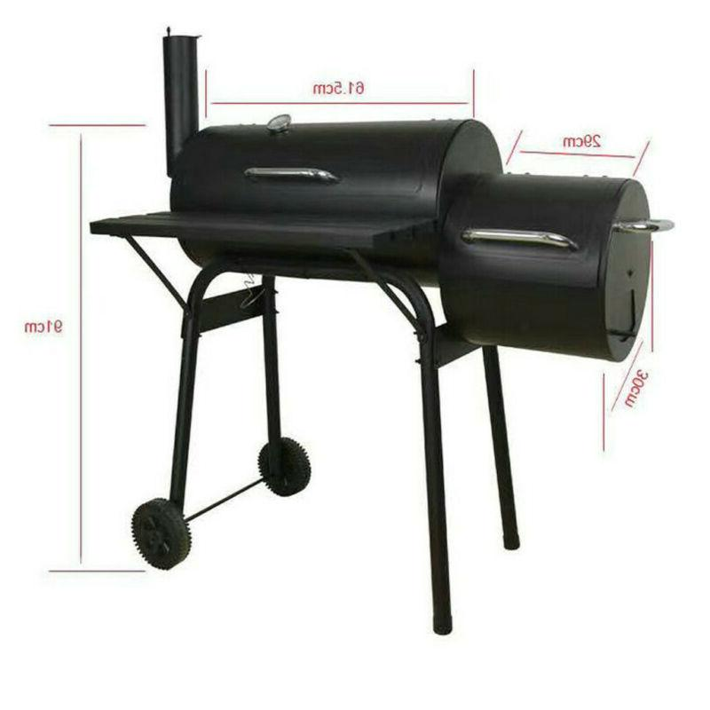90cm Steel Portable Backyard Charcoal BBQ Grill and Offset Smoker