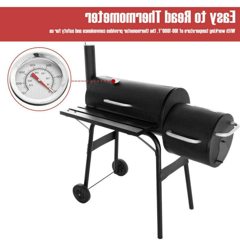 """35"""" Steel Charcoal Grill Offset Combo"""