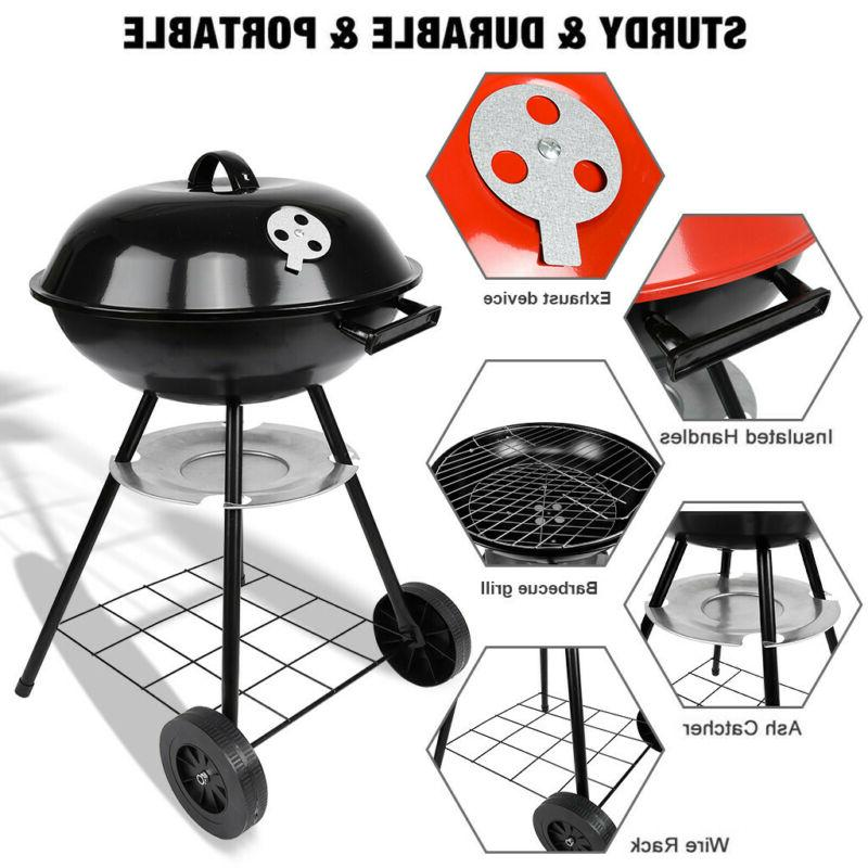 90cm Charcoal BBQ Grill Offset Smoker Combo Backyard