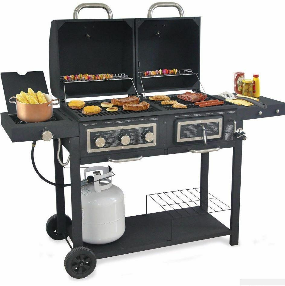 Gas Combo Hybrid Barbecue Side