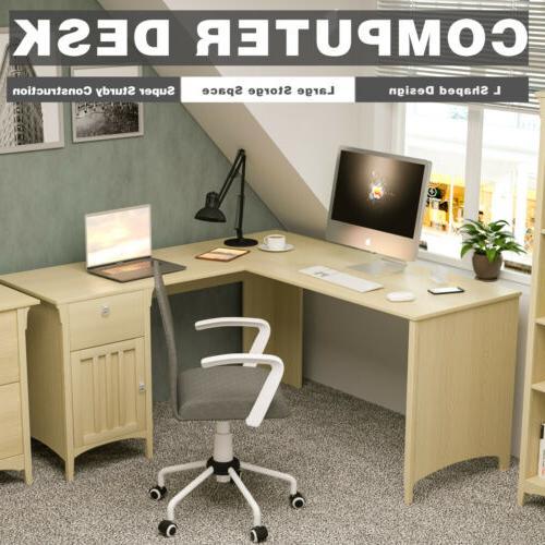antique white l shaped corner computer desk