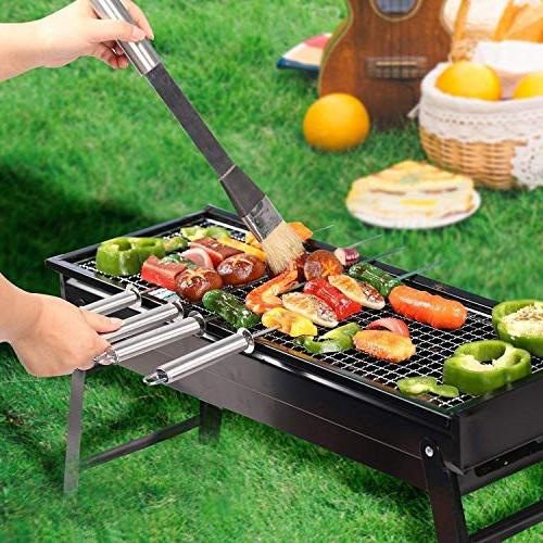 Evoio Charcoal Grill Stainless Steel Folding Grill Portable Tool Hiking Cooking