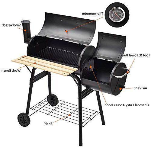 SUNCOO BBQ Offset Smoker Picnic, Camping, Patio Backyard Cooking, Home with Wheels Wood Platform