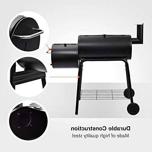 SUNCOO BBQ Grill Offset Smoker Picnic, Camping, Backyard Cooking, Cooker with Wheels Wood Platform
