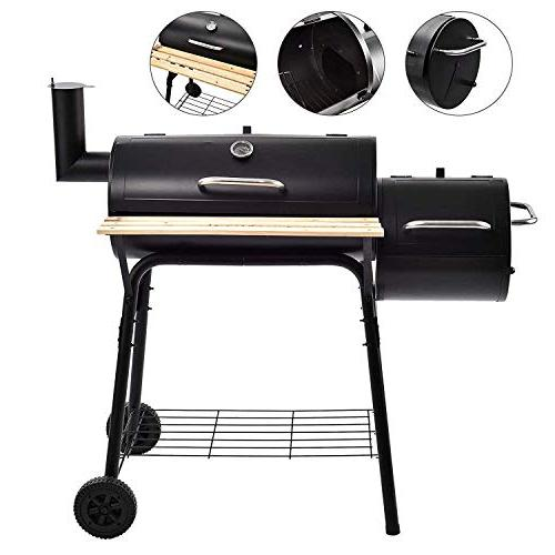 SUNCOO Grill Offset Picnic, Camping, Backyard Cooking, Meat with Wood Platform