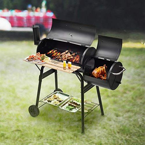 mecor BBQ Offset Smoker Pit Backyard Home with Wheels Smoker( Black)