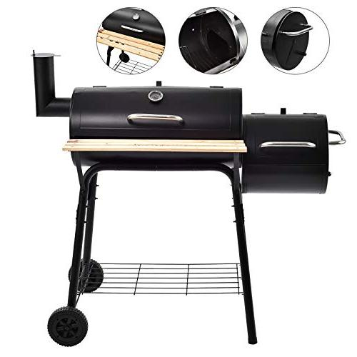 mecor Charcoal Offset Backyard Home Meat Cooker with Wheels and Smoker(