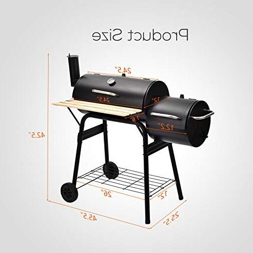 mecor BBQ Offset Barbecue Pit Backyard Meat Cooker with and Smoker( Black)