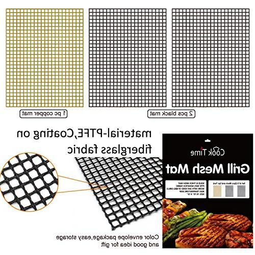 BBQ Mat Set of 3 Non Sheet Liners Teflon Grilling Smoking - Works on
