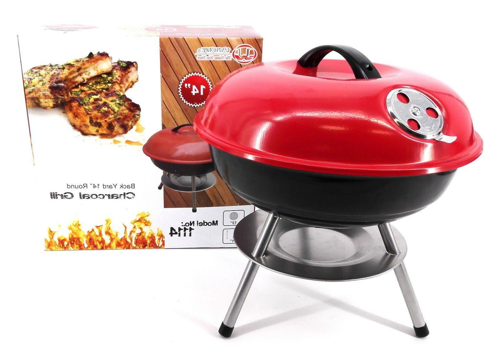 charcoal barbecue cooking grill chrome plated red