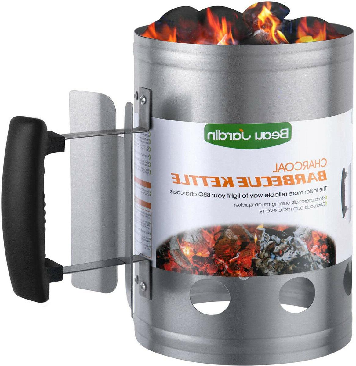 "BEAU JARDIN Charcoal Chimney Starter 11""X7"" Grill Barbecue B"