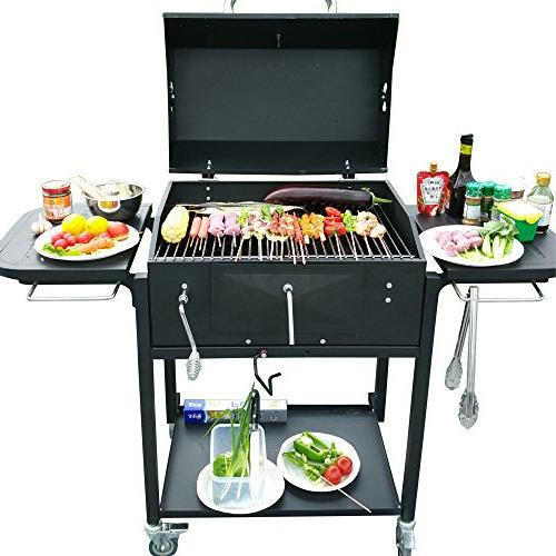 Ainfox Charcoal Grill, BBQ Outdoor Picnic, Backyard Cooking,Black