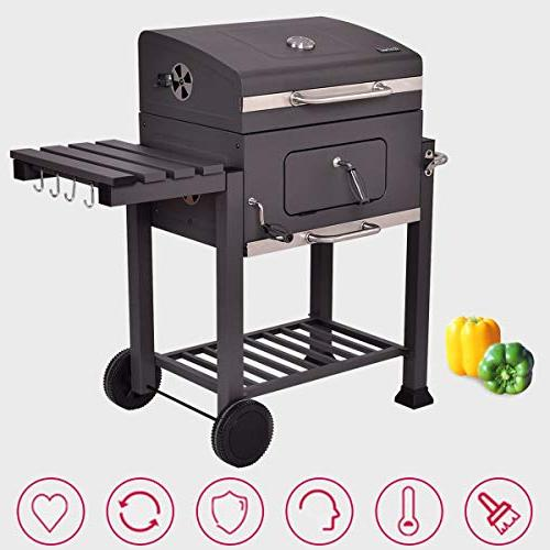 COSTWAY Charcoal Outdoor Patio Barbecue BBQ Grill by SpiritOne + Coconut