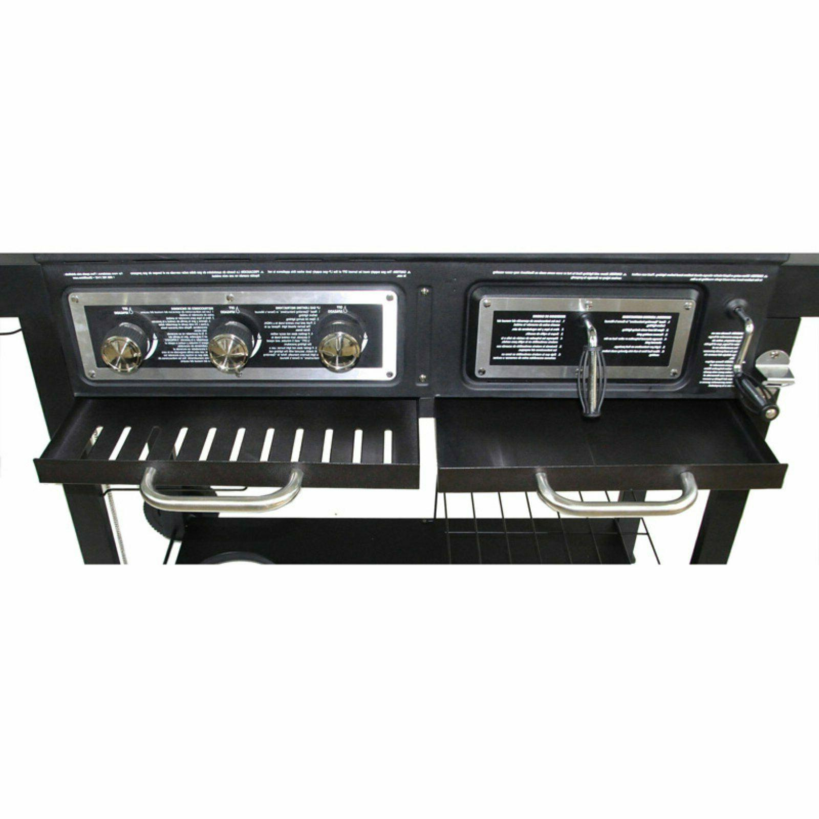 Combo Grill Gas - Charcoal Hybrid Outdoor Cooking BBQ Burner
