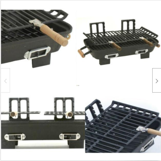 New Hibachi Grill Cast Iron Charcoal Cooking Portable Outdoor
