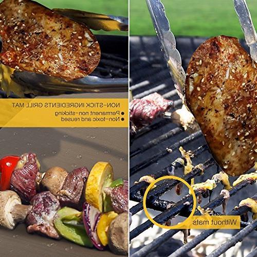 Copper Mat Bake Mat 5 Non Stick Grill & Baking Mats - Reusable, Clean Fiber Roast for Gas, Charcoal, Grill
