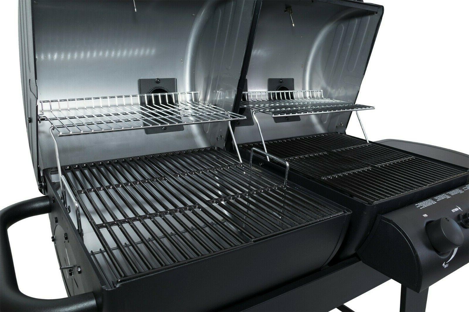 Dual Burner Charcoal/Gas Grill Pan Barbecue Cooking Backyard