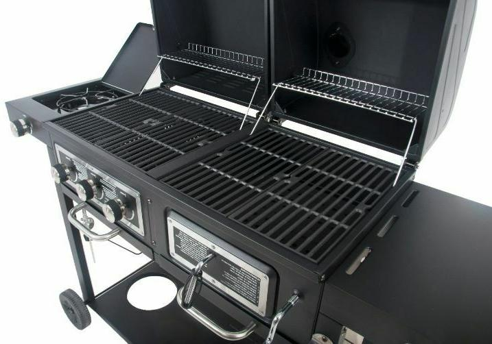 Dual Fuel &Charcoal Combo Grill cooking that can accommodate 32Burgers