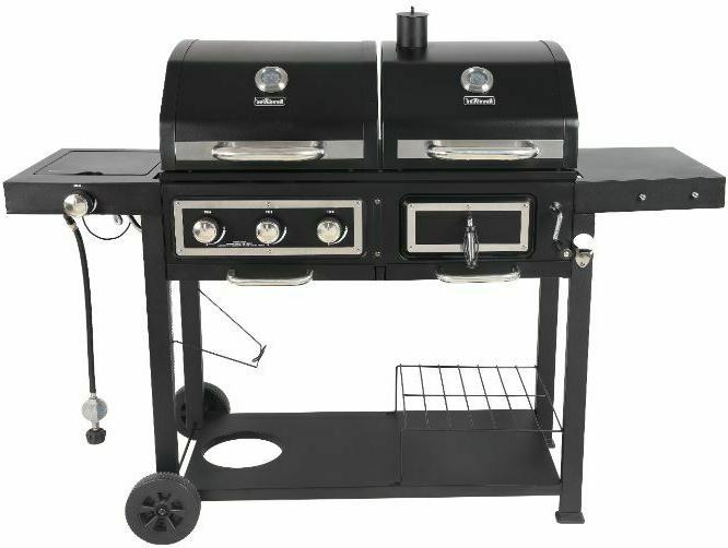 dual fuel gas and charcoal combo grill