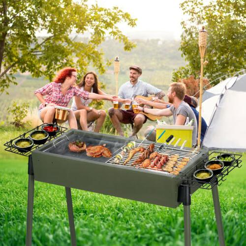 BBQ Charcoal Grill Stainless Foldable Backyard Cooker Portable