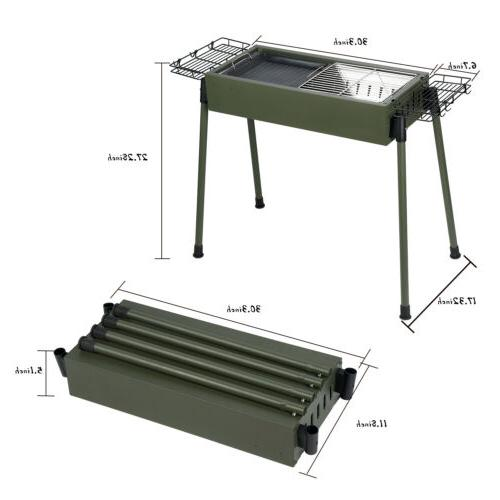 Foldable Barbecue Charcoal Grill Stove BBQ Patio Shish Kabob