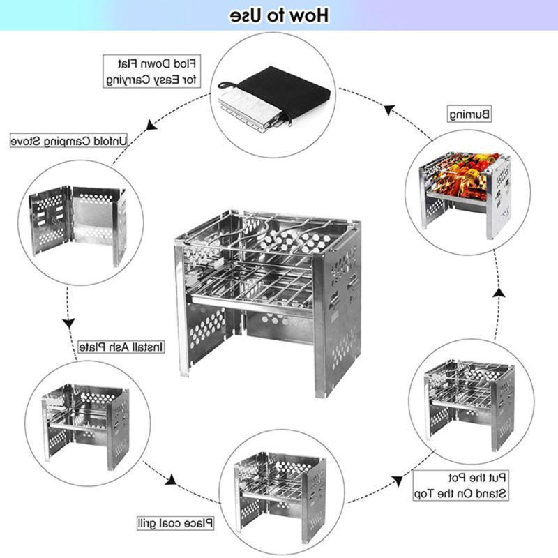 Mini Portable Folding Firewood Charcoal BBQ Coo