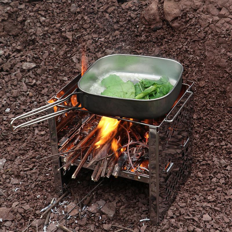 Mini Portable Folding Firewood Stove BBQ Grill Camping Coo