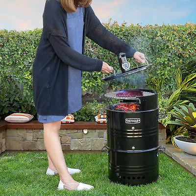 multi function barrel pit charcoal smoker grill