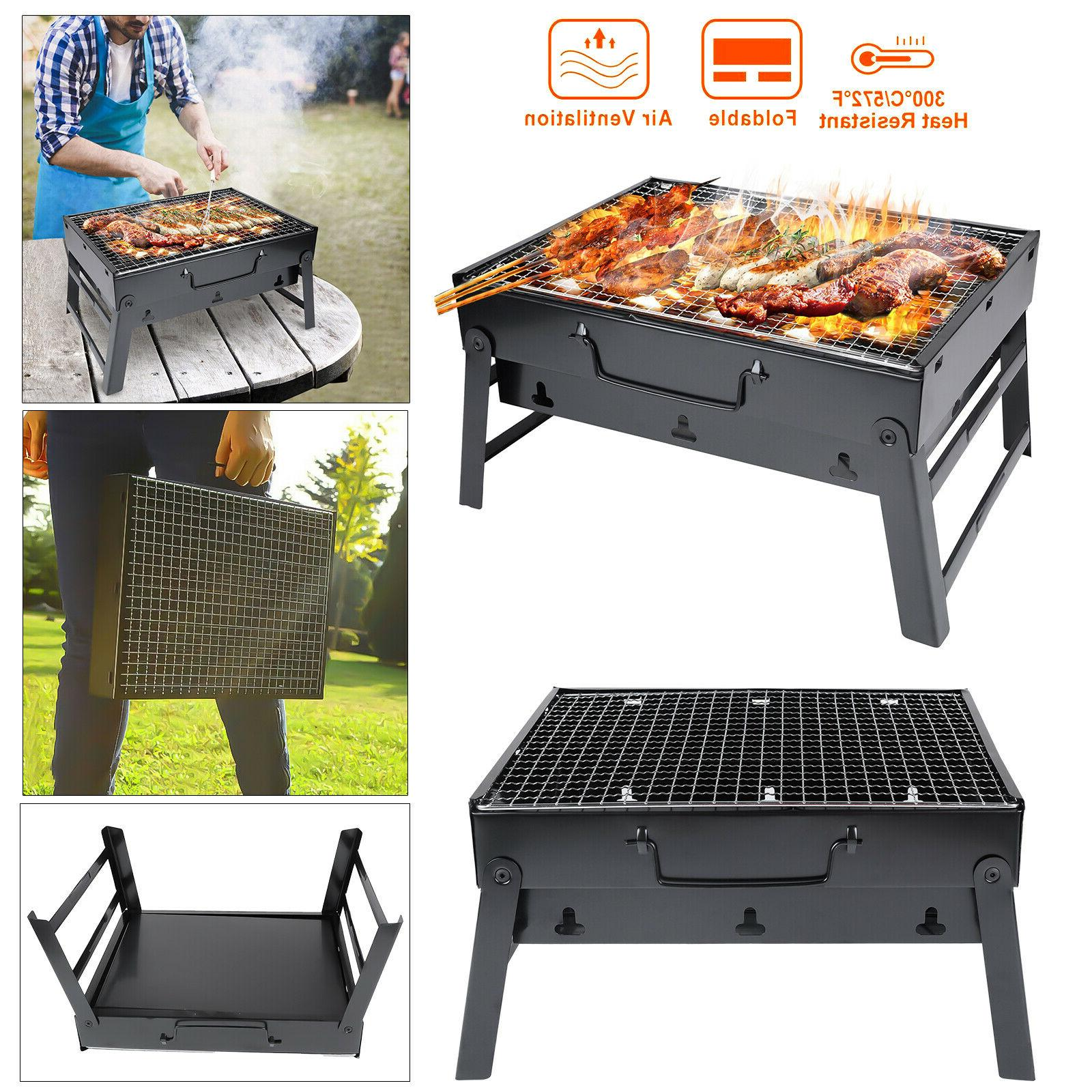 portable bbq barbecue grill large folding charcoal