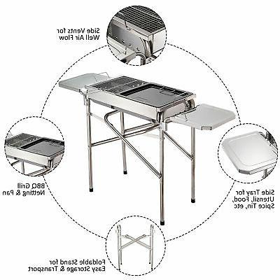 "27"" Portable Kebab Barbecue Steel Outsunny"