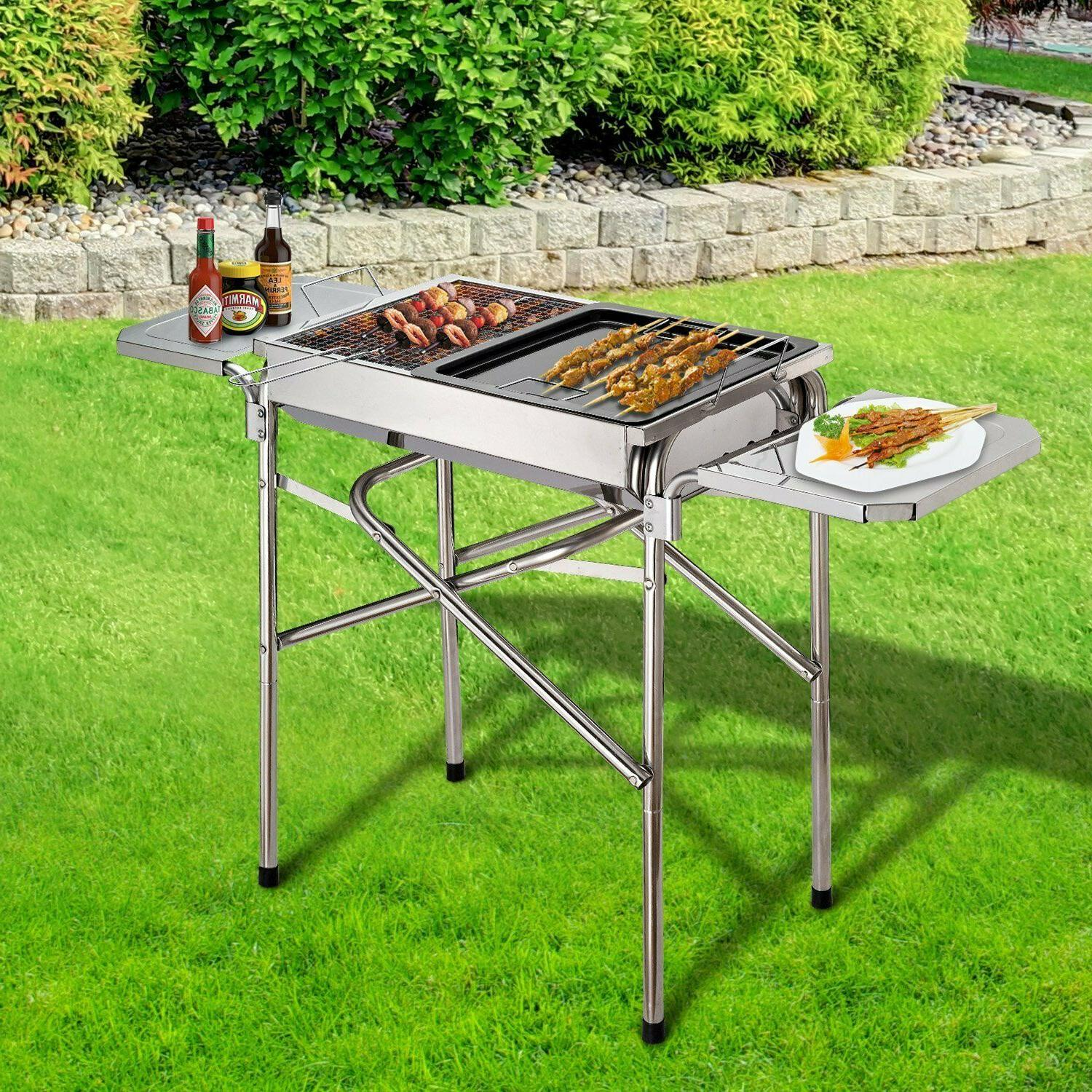 portable bbq grill kebab barbecue charcoal stainless