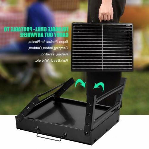 Portable Charcoal BBQ Grill Folding Barbecue Kabob Stove