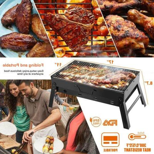 Portable Charcoal BBQ Smoker Barbecue Foldable Outdoor Picnic Cooker