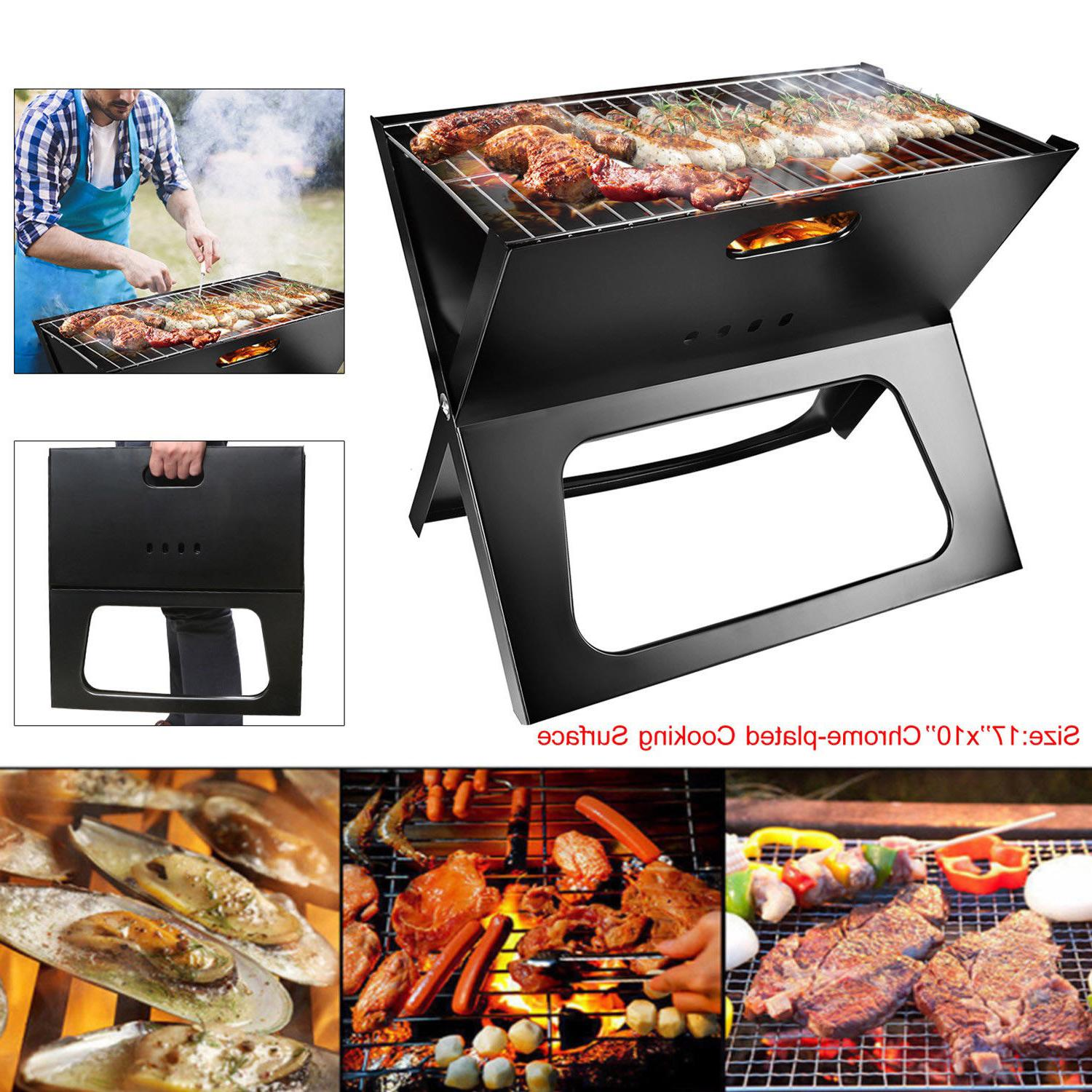 Outdoor Folding Portable Charcoal BBQ Grill Camping Patio Ba