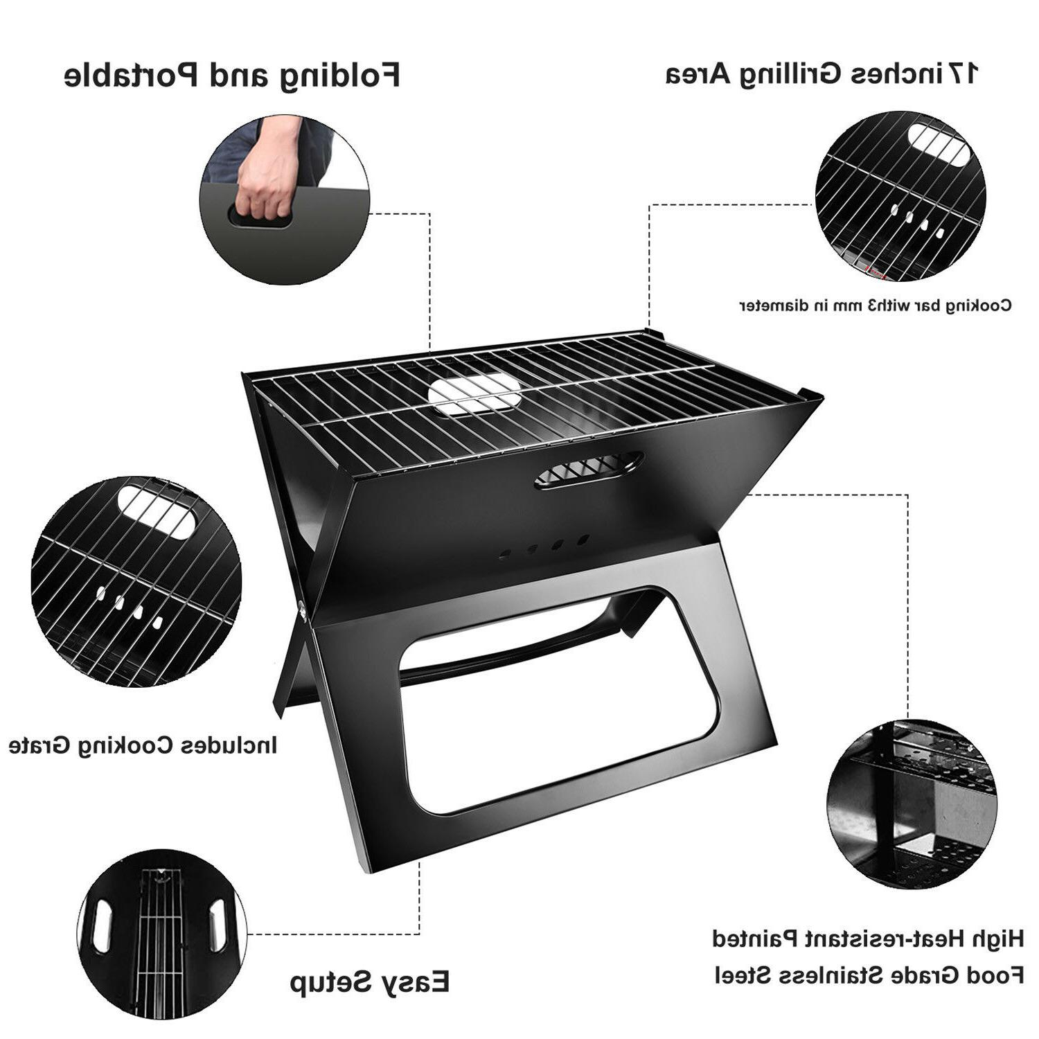 Portable Compact Charcoal BBQ Grill Outdoor Camping Cooker Bars Smoker