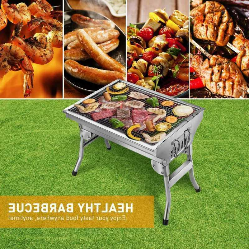 "14"" Portable BBQ Grill Kebab Barbecue Charcoal Stainless Ste"