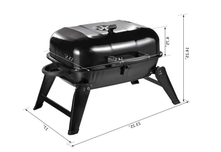 Outsunny Portable Outdoor Tabletop Charcoal Grill Black Foldable BBQ