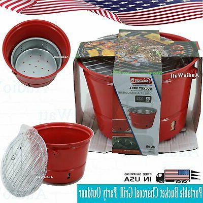 portable red bucket charcoal grill party outdoor