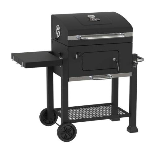premium portable charcoal grill black and stainless