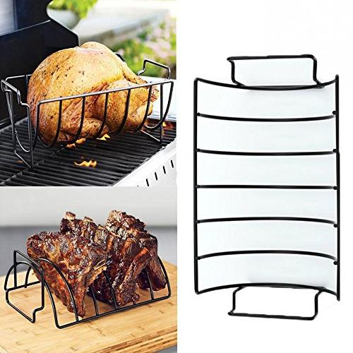Rib Rack for Grilling,Non-Stick Stainless Steel BBQ Handle Grill Roasting Kitchen Outdoor