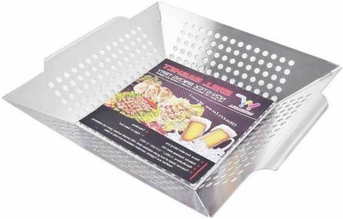 Witswell Stainless Vegetable Grill Basket on Gas Grills