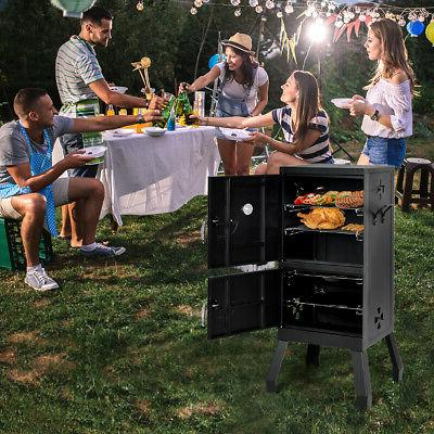 Vertical Smoker Barbecue Grill w/ Temperature Gauge Black