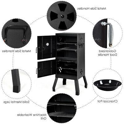 Vertical Charcoal BBQ Barbecue Grill w/ Temperature Gauge Black