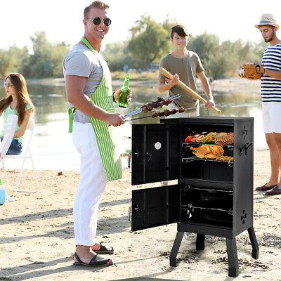 Vertical Charcoal Smoker BBQ Barbecue w/ Gauge Black