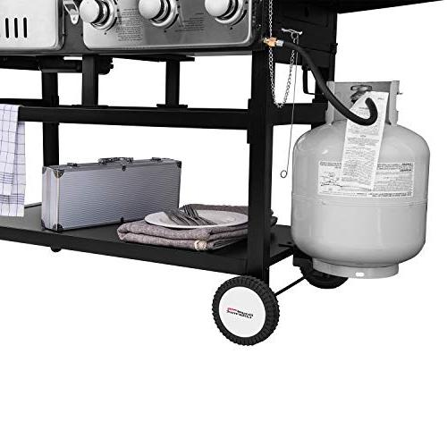 3-Burner Gas and Charcoal Grill Combo, for Cooking,