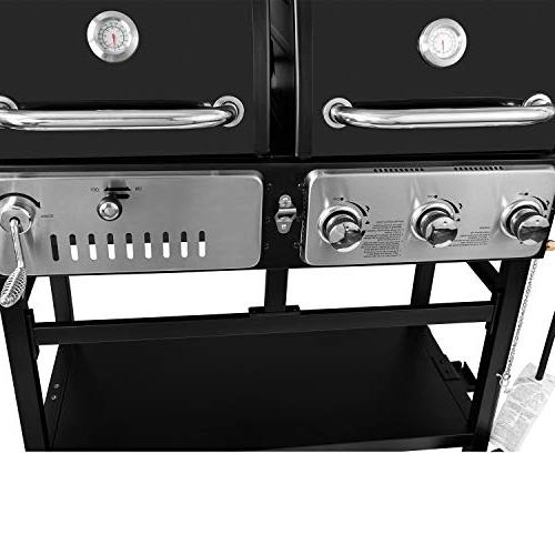 Royal ZH3003 Dual 3-Burner Gas Charcoal Grill Combo, Cooking, Black