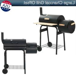Large Charcoal Grill Offset Smoker BBQ Portable Barbecue Out