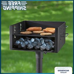 Large Heavy Duty Grill Single Post Park Style Charcoal BBQ P