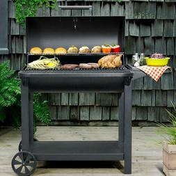 """Outdoor BBQ Portable 35"""" Barrel Charcoal Grill w/ Sliding As"""