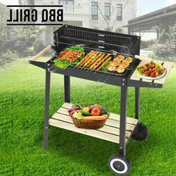 Outdoor Charcoal BBQ Stand with Wheels Black Steel Wood Gril
